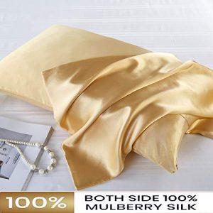FLCA - Funda de almohada de seda de morera para cabello y piel, ambos lados de seda de morera, 1 unidad, seda sintética, champán, Standard 50x75cm 4
