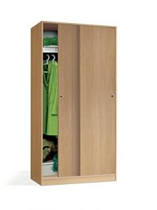 Armario Color Roble, 2 Puertas correderas Regulables, altillo y Barra Interior incluida de Dormitorio. 200cm Alto x 100cm Ancho x 55cm Fondo 2