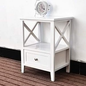 EXQUI Mesita de noche con estante y cajón, mesita de noche blanca para recámara, armario de madera, unidad de almacenamiento, mesa consola pequeña para sala de estar, color marrón G972W 5