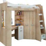 Juego de muebles infantiltodo en uno, escaleras en la parte derecha,cama alta con escalera,armario, estantes, escritorio 11
