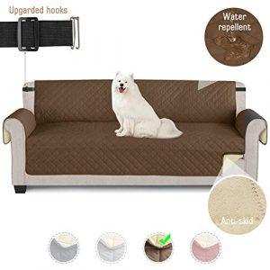 TAOCOCO Funda de sofá Impermeable Funda de cojín de protección para Mascotas Funda de sofá antisuciedad (Marrónl/ 4 Plazas 195 * 218cm) 4