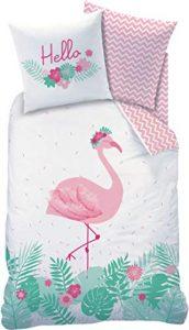 CTI Flamingo - Juego de cama (franela, funda de almohada de 80 x 80 cm, funda nórdica de 135 x 200 cm, 100% algodón), diseño de flamencos, color rosa turquesa 7