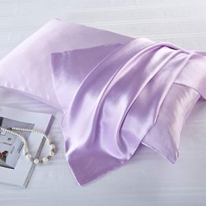 FLCA - Funda de almohada de seda de morera para cabello y piel, ambos lados de seda de morera, 1 unidad, seda sintética, morado claro, Standard 50x75cm 2