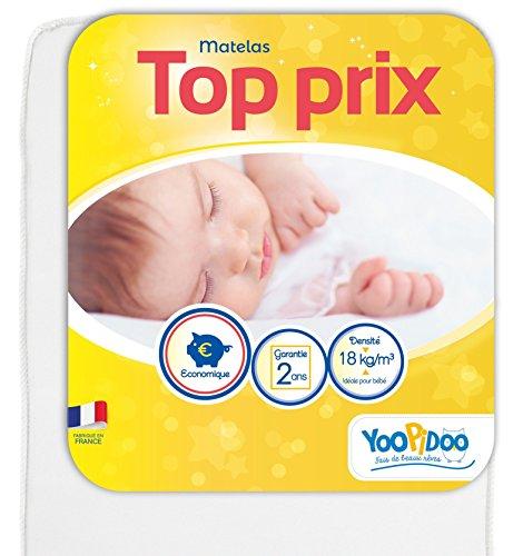 Yoopidoo - Colchón para bebé (70 x 140 cm), cómodo, sin Tratamiento químico, Oeko Tex®, fabricación Francesa 1