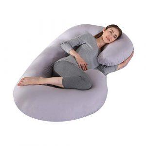 KINGSON Almohada Embarazada Dormir en Forma de C,Multifuncional Embarazo Almohada de Cuerpo Completo Mejorar Sueño con Funda de Algodón Extraíble y Lavable (C Forma-Gris, Algodón) 4