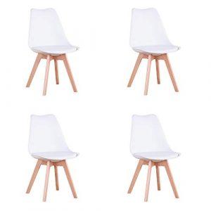 N / A Conjunto de 4 sillas, Silla de Comedor, Silla de tulipán de Estilo nórdico, Adecuada para Sala de Estar, Comedor (Blanco) 4