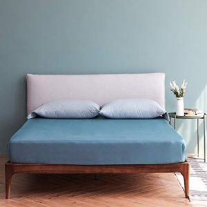Vanc Home 1000TC - Sábana bajera ajustable (algodón egipcio, 40,6 cm de profundidad, color azul cian, doble) 10