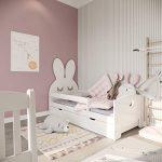 (140x70, blanco) NeedSleep cuna con colchón 140x70 cm 160x70 cm | marco de listones y cajones | para niños a partir de 2 años | chica chico | cama funcional montessori | liebre blanco 15