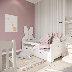 (140x70, blanco) NeedSleep cuna con colchón 140x70 cm 160x70 cm | marco de listones y cajones | para niños a partir de 2 años | chica chico | cama funcional montessori | liebre blanco 7