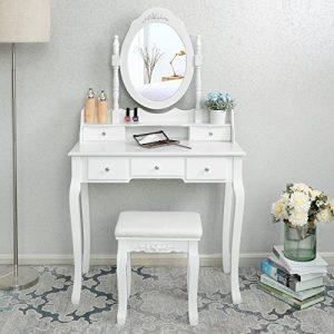 SONGMICS Blanco Tocador Mesa de Maquillaje Belleza 5 Cajones Espejo Giratorio Taburete Acolchado RDT15W 4