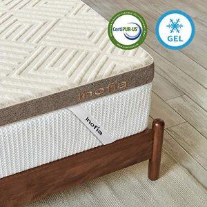 Inofia - Cubrecolchón de gel con funda de lino, 140 x 200 cm 2