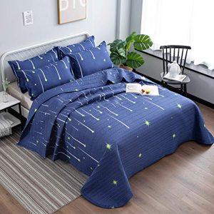 Qucover Cubrecama Verano para Cama 150,Azul Colcha Microfibra Infantil Reversible Manta con 2 Fundas de Almohada,Universo Estrellas para Cama 135 1