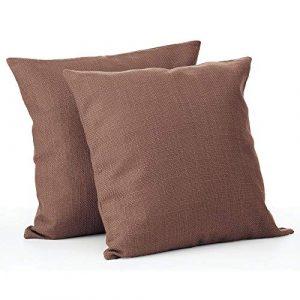 mDesign Juego de 2 fundas de cojín – Bonito forro para cojines decorativo de poliéster – Suaves fundas para cojines sin relleno – marrón 3