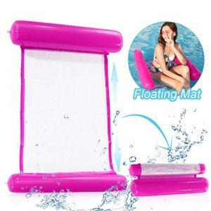 O-Kinee Hamaca de Agua Inflable Flotante Cama Agua Flotante de Agua Plegado Hamaca Hinchable Hamaca Lounge Silla Cómoda Piscina Playa Flotador para Adultos (Rosado) 5