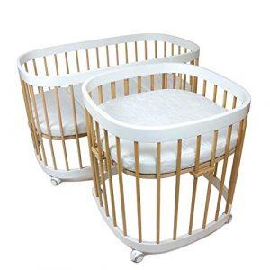tweeto - Cuna 7-en-SET con colchón de 3 partes - multifuncional expandible, color: blanco + haya - cama para niños 7 funciones 6