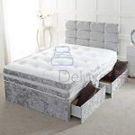 Cama de diván doble de terciopelo arrugado con cabecero y cajones de almacenamiento disponibles 4FT6 2 Drawer Silver Crush 11