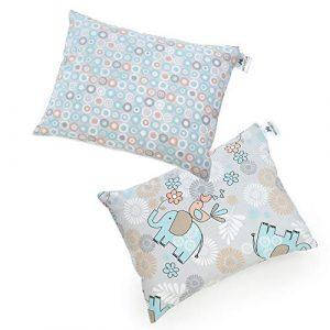 NATURECA Paquete de 2 almohadas para niños con funda de almohada, lavables y transpirables para bebés de 30 x 40 cm para dormir suaves almohadas de algodón 7