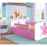 Cama infantil 70x140 Cama para Niños rosa con barrera de protección contra caídas Cajones extraíbles y base de listones - para niñas - 140 x 70 cm Princesa en el pony 11