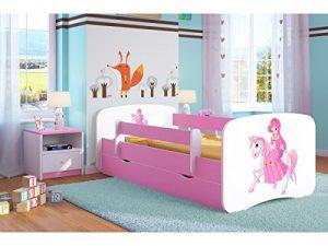 Cama infantil 70x140 Cama para Niños rosa con barrera de protección contra caídas Cajones extraíbles y base de listones - para niñas - 140 x 70 cm Princesa en el pony 6