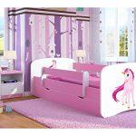 Cama infantil 70x140 Cama para Niños rosa con barrera de protección contra caídas Cajones extraíbles y base de listones - para niñas - 140 x 70 cm Unicornio 18