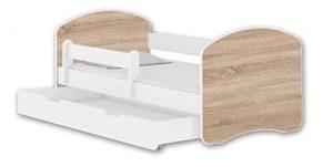 ACMA Cama infantil II + cajón de colchón blanco 140 x 70 160 x 80 180 x 80 (140 x 70 cm + cajón, blanco – madera Sonoma) 8