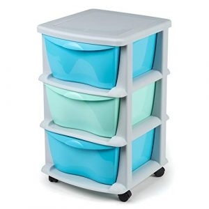 Cajoneras contenedores de plástico con Ruedas para Uso rudo Contenedores para almacenaje de Color Negro con 3 cajones azul y verde 3