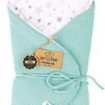 Almohada de lactancia 100% algodón 75 x 75 cm - Doble cara - Suave - Multifuncional - Hipoalergénico - Super suave 1024 Manta para bebé (Menta/estrella) 19