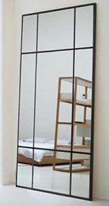 Espejo de Cuerpo Entero Rectangular Negro [180 x 90 x 3cm] | Diseño danés | Espejo Grande y Largo de pie | Vertical y Horizontal 2