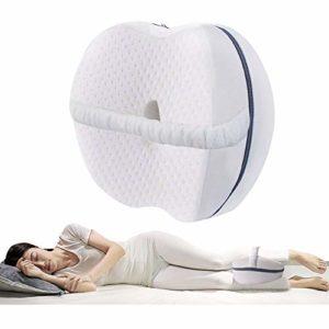 VDSOW Almohada de rodilla para dormir lateral, espuma viscoelástica para dormir lateral con correa elástica, Cojín de apoyo para la rodilla para cadera y espalda y alivio de presión, color blanco 2