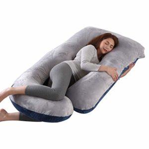 ARNTY Almohada Embarazada U Dormir,Almohada de Embarazo de Cuerpo Completo,Multifuncional Almohada para el Embarazo en Forma de U como Embarazo Regalo (Azul&Gris-Terciopelo) 8