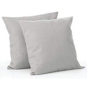 mDesign Juego de 2 fundas de cojín – Bonito forro para cojines decorativo de poliéster – Suaves fundas para cojines sin relleno – gris 5