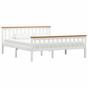 vidaXL Madera Maciza de Pino Estructura de Cama Matrimonio Doble Blanca 160x200 cm Somier Muebles de Dormitorio Habitación 8