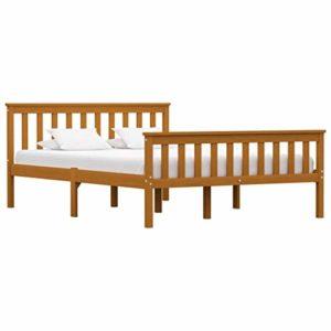 vidaXL Madera Maciza de Pino Estructura de Cama Matrimonio Doble Marrón Miel140x200 cm Somier Muebles de Dormitorio Habitación 1