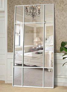Espejo de Cuerpo Entero Rectangular Blanco [220 x 110 x 3cm] | Diseño danés | Espejo Grande y Largo de pie | Vertical y Horizontal 3