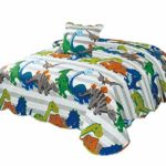 Montse Interiors Colcha Boutí Infantil Reversible Dibujo Dinosaurios con Cuadrantes+Cuadrantes (Dinos, 180x260+1 cuadrante (para Cama de 90)) 17