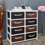 Cómoda rústica blanca con 8 cestas en color marrón y negro de 70 cm altura para baño y vivienda 17