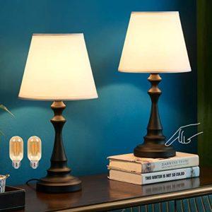 Kakanuo - Lamparilla táctil, lámpara de mesa con pantalla de tela blanca con base de columna romana negra, ideal para mesita de noche, dormitorio, salón o estudio (set de 2) 4