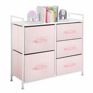 mDesign Cómoda de tela – Estrecho organizador de armarios con 5 cajones – Práctico mueble cajonera para el dormitorio, la habitación infantil o zonas pequeñas – Armario con cajones – rosa/blanco 5