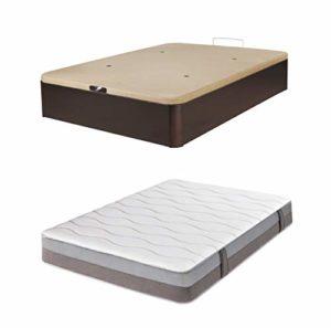 DHOME Pack Canape abatible tapizado 3D Madera + Colchón viscografeno, Reversible Conjunto (105x190 Wengué, 30mm + Colchón) 10