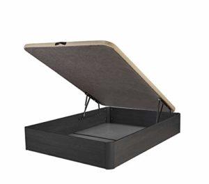 DHOME Canape Abatible Tapizado 3D 4 válvulas Maxima Calidad Esquinas canapé Madera (150x190 Ceniza, 22mm) 2