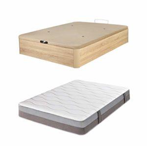 DHOME Pack Canape abatible tapizado 3D Madera + Colchón viscografeno, Reversible Conjunto (150x190 Cambrian, 22mm + Colchón) 3