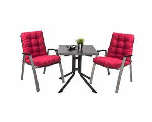 Pack 2 Cojines con Respaldo de Silla Jardin Conjunto Cojin de Asiento para Interior y Exterior Cómodo. Cojines para sillas, tumbonas, mecedoras terraza. (Rojo) 3