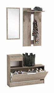 Abitti Recibidor vestidor con Zapatero abatible Color Roble con Espejo. para Entrada, Pasillo o Dormitorio. 200x92cm 6