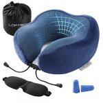 Almohada de Viaje, Almohada de Cuello LOFTer Viaje Hecha de Tela cómoda de Espuma viscoelástica Almohada de Viaje de Espuma, Almohada de Soporte para el Cuello para Viajar con Gafas para Dormir(Azul) 11