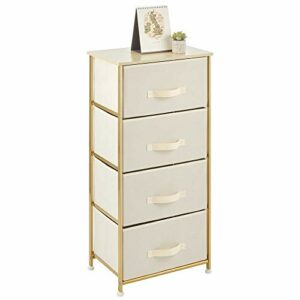 mDesign Cómoda para dormitorio de diseño texturizado con 4 cajones – Práctico mueble cajonera con balda de madera MDF para dormitorio o pasillo – Cajonera de metal y tela – crema y dorado latón 10