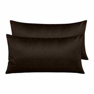 Pack 2 Fundas de Almohada de Microfibra con Cremallera Funda Almohada Transpirable Suave Antiarrugas ( Marrón, 45x80 cm) 5