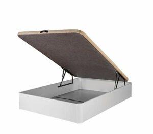 DHOME Canape Abatible Tapizado 3D Grosor 30mm 4 válvulas Maxima Calidad Esquinas canapé Madera (90x200, Blanco) 10