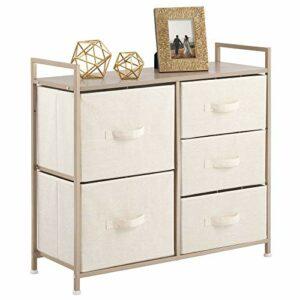 mDesign Cajonera de metal y tela con 5 cajones – Ancha cómoda para dormitorio, sala de estar o pasillo – Mueble organizador para ropa con balda de madera MDF – crema y dorado 3