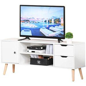 HOMCOM Mueble de TV Mesa de Salón Moderno 120x28x44 cm Gran Almacenaje con Armario Estantes Abiertos y Cajones Carga 30 kg para Dormitorio Sala Blanco 1