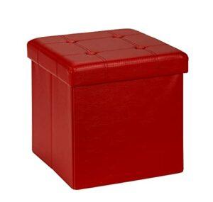 D&D Quality Puff Almacenaje, Asiento Acolchado, 38 x 38 x 38 cm, Plegable - Exterior Polipiel Suave - Carga Máxima de 300 kg (Red) 9